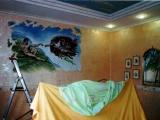 decorazione artistica a muro in realizzazione